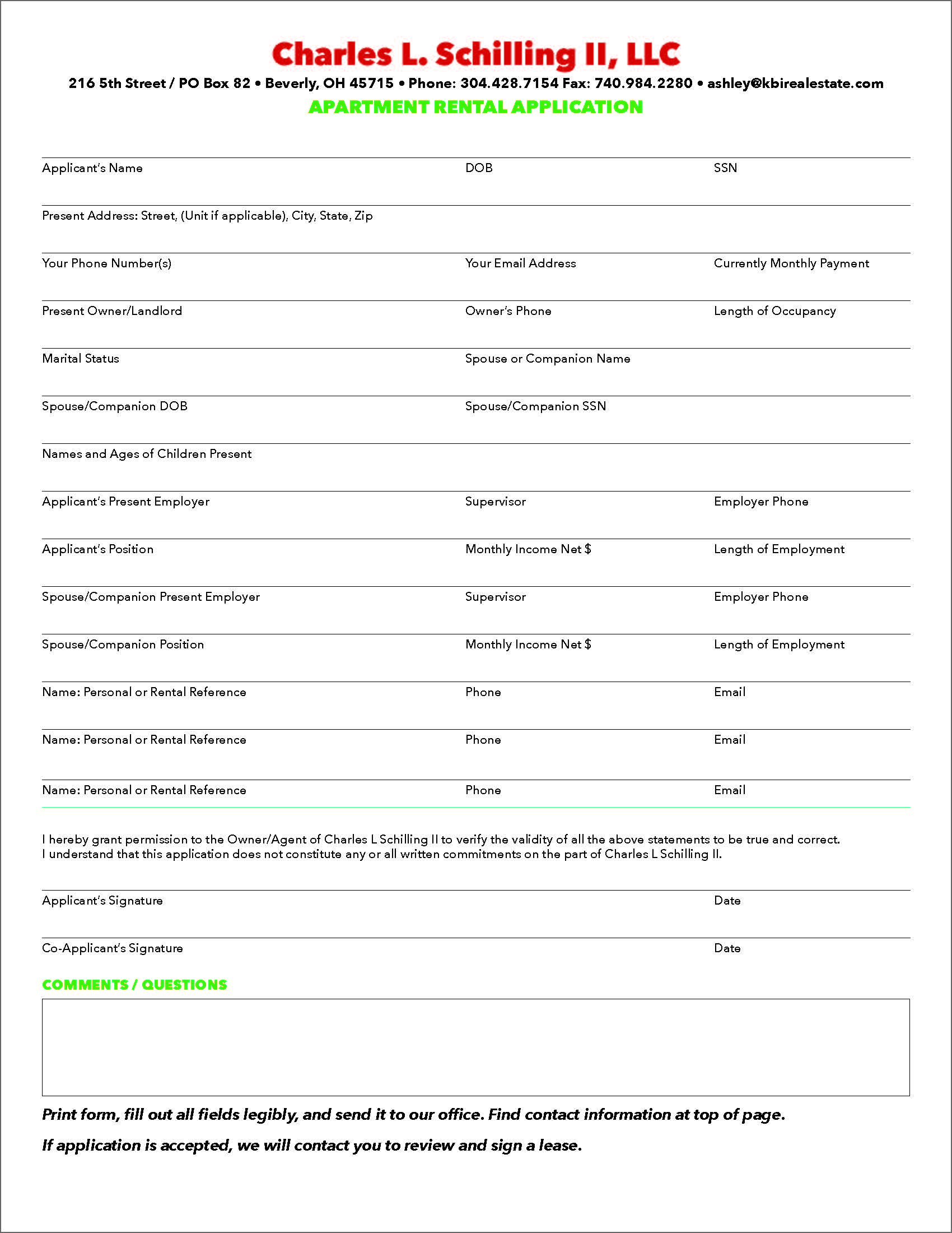 Apartment Rental Application KBI Real Estate LLC – Apartment Application Form